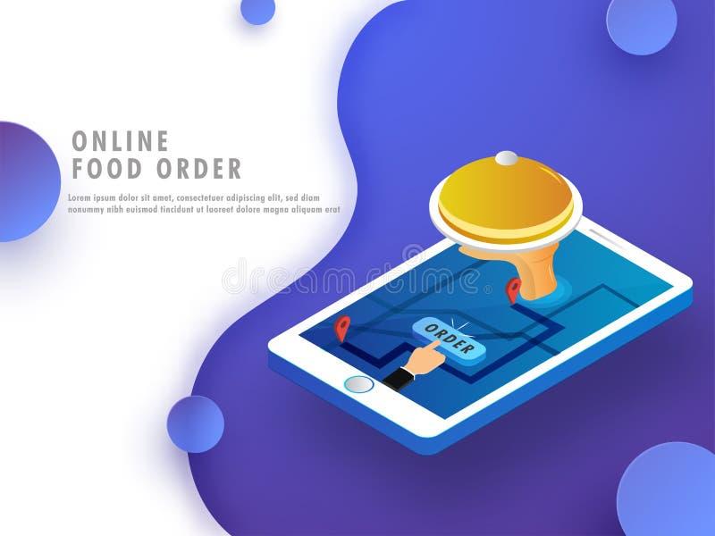 Het online concept van de voedselorde, voedsel mobiele app open op een smartphone royalty-vrije illustratie