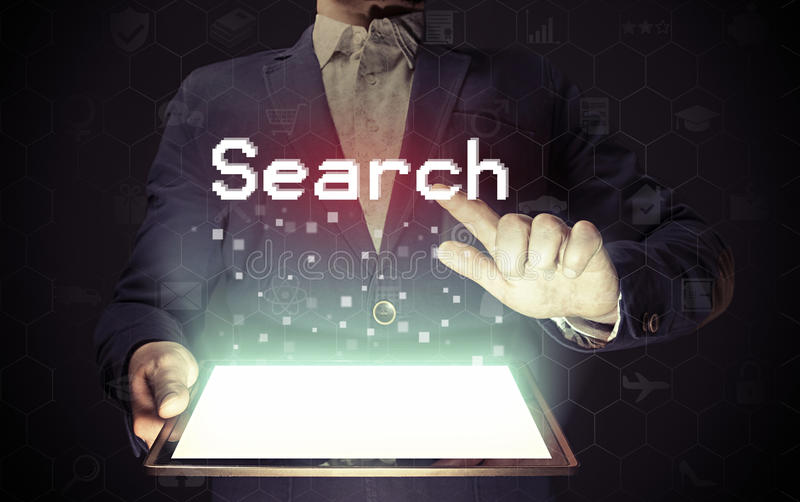Het online Concept van het Onderzoek stock foto