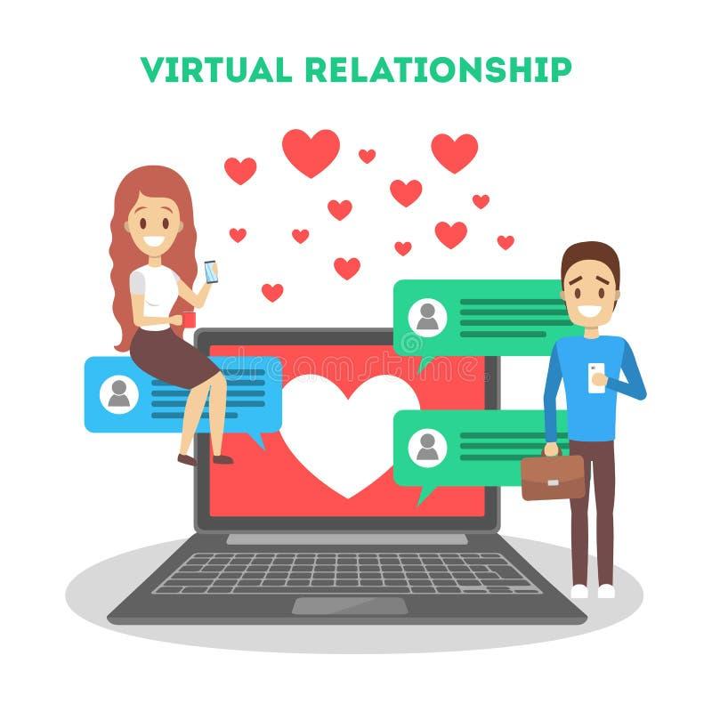 Het online dateren app Virtuele verhouding en liefde stock fotografie