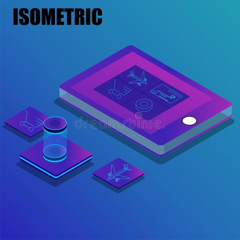 Het online de dienstenconcept baseerde isometrisch ontwerp royalty-vrije illustratie