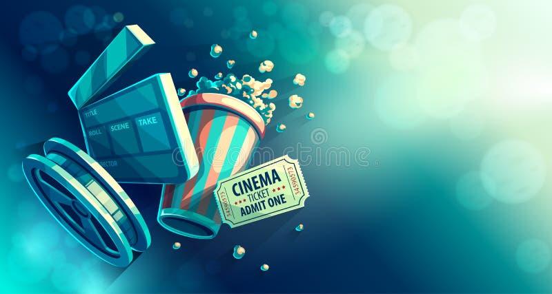 Het online de film van de bioskoopkunst letten op met popcorn royalty-vrije illustratie