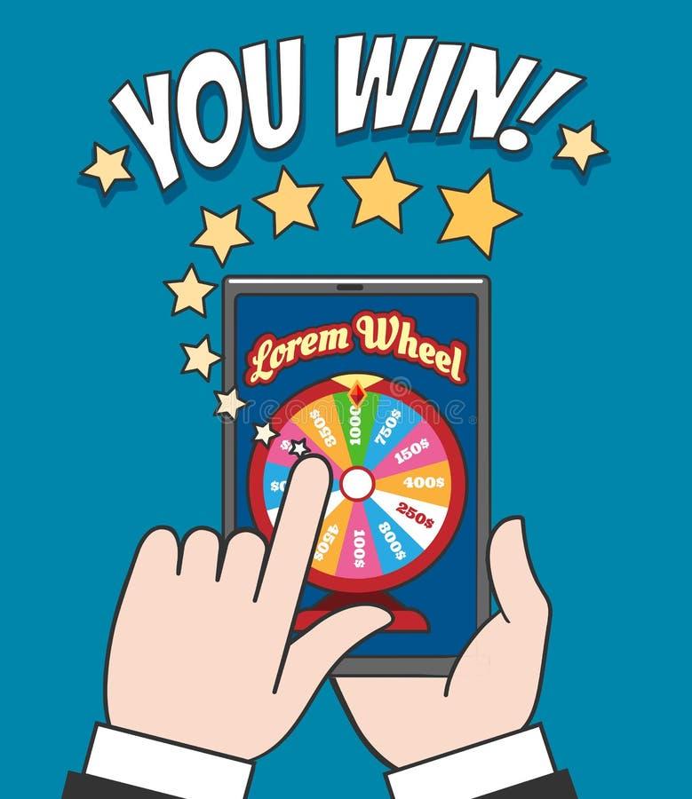 Het online gokken van de rotatieroulette vector illustratie