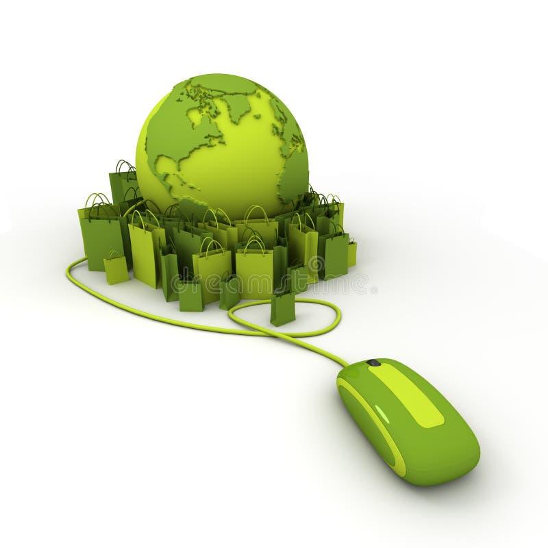 Het online groene winkelen stock illustratie