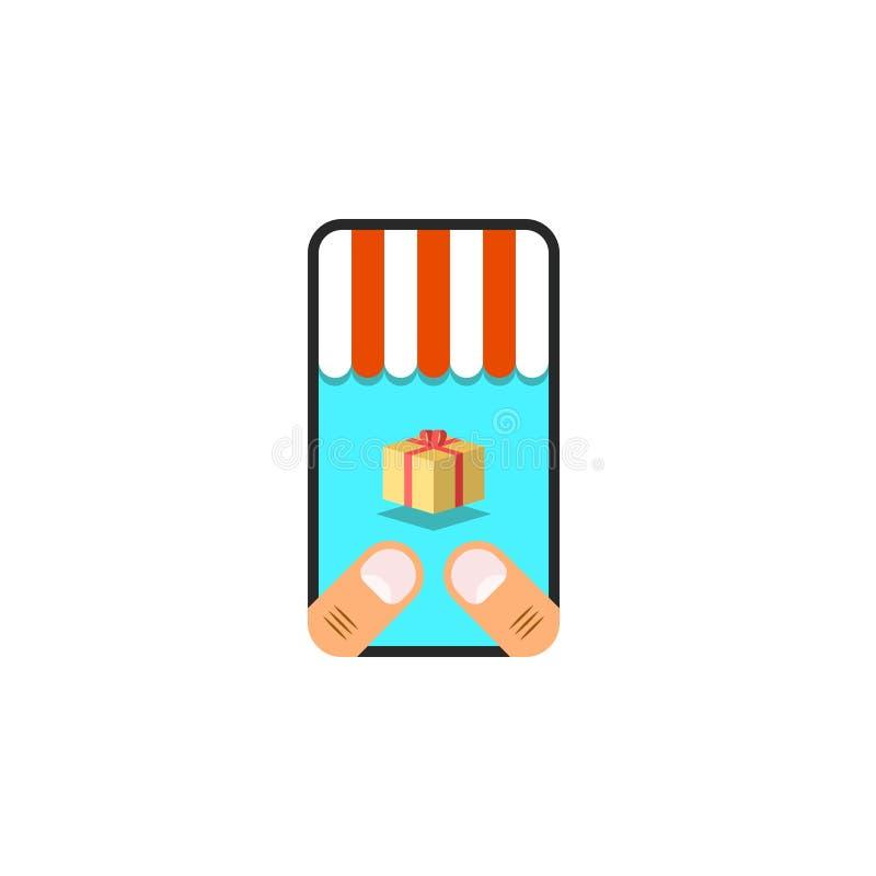 Het online handelsconcept, aankoop van goederen in de online opslag een persoon houdt een smartphone in zijn handen op het scherm vector illustratie