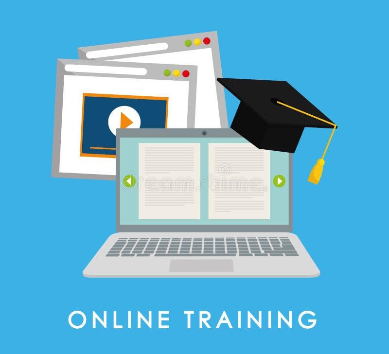 Het online onderwijs en eLearning royalty-vrije illustratie