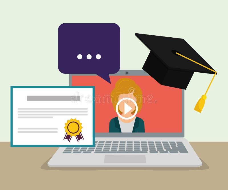 Het online onderwijs en eLearning stock illustratie