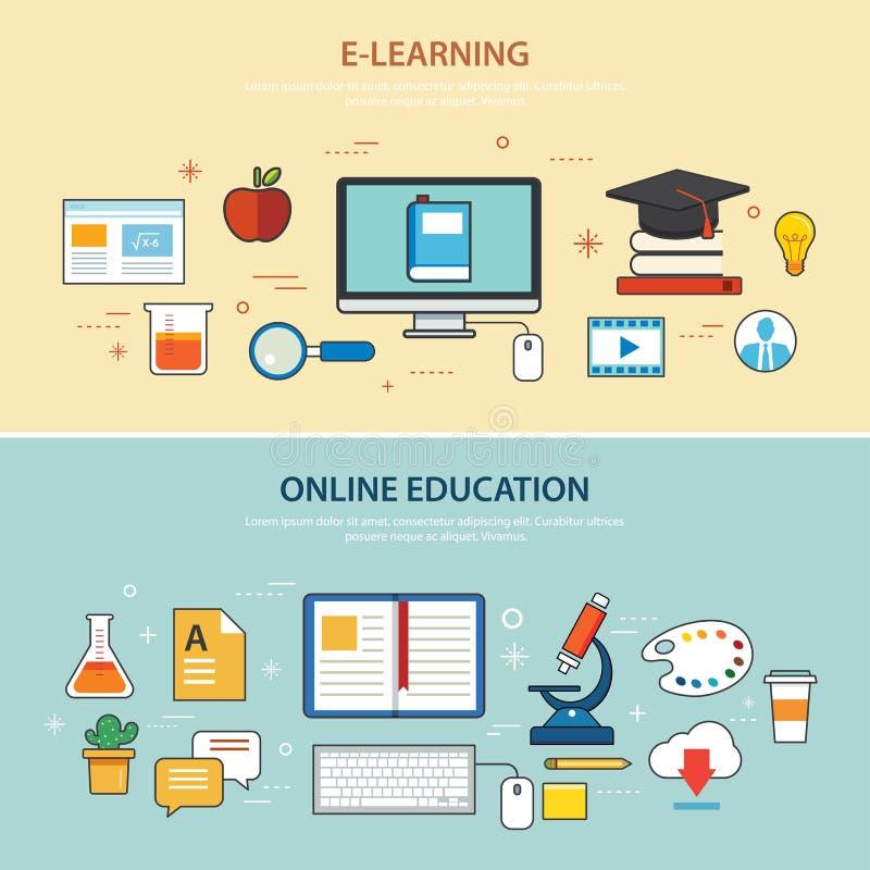 Het online onderwijs en malplaatje van het e-lerende banner vlakke ontwerp vector illustratie