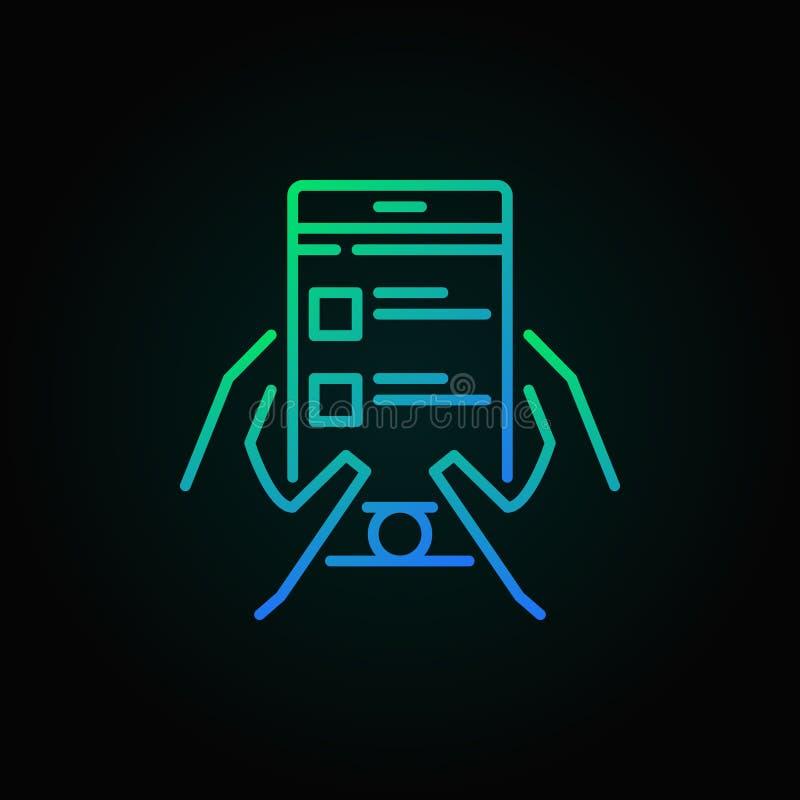 Het online onderzoek in smartphonevector kleurde overzichtspictogram royalty-vrije illustratie
