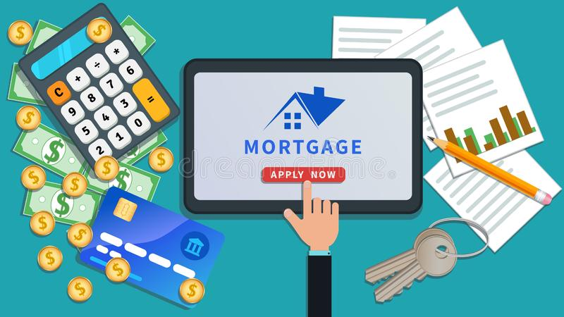 Het online ontwerp van de hypotheekbetaling De financiële planning, huurhuis, huislening, koopt onroerende goederen De vlakke tab royalty-vrije illustratie