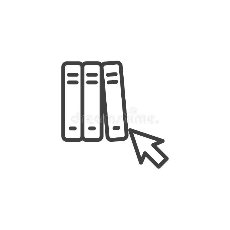 Het online pictogram van de bibliotheeklijn royalty-vrije illustratie