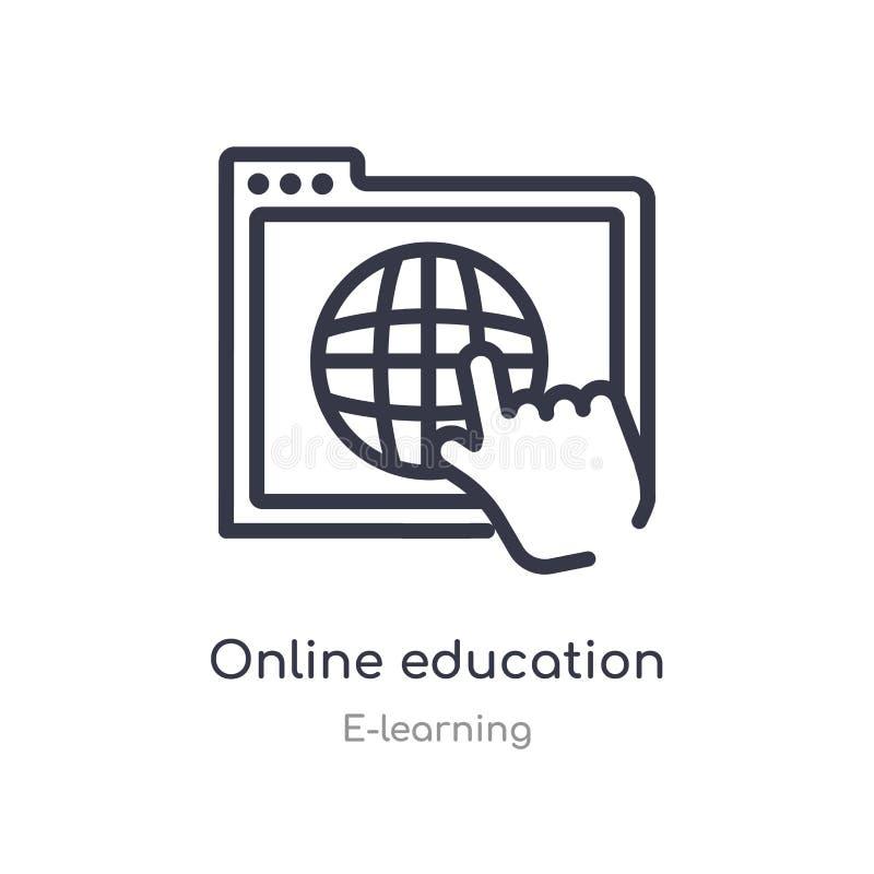 Het online pictogram van het onderwijsoverzicht ge?soleerde lijn vectorillustratie van e-lerende inzameling E royalty-vrije illustratie