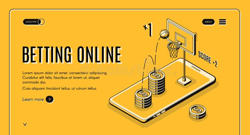 Het online vectormalplaatje van het bookmakerlandingspagina stock illustratie