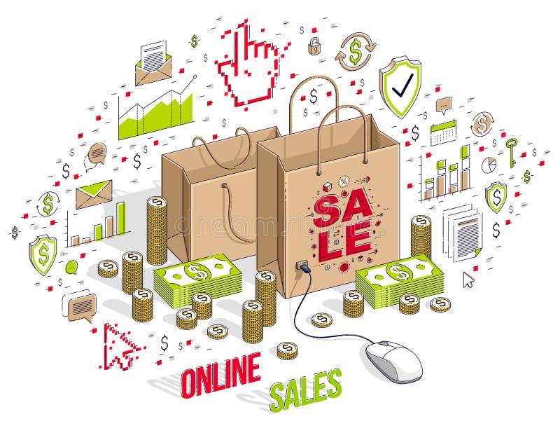 Het online Winkelconcept, Webopslag, Internet-verkoop, het Winkelen zak met PC-muis verbond geïsoleerd op wit stock illustratie