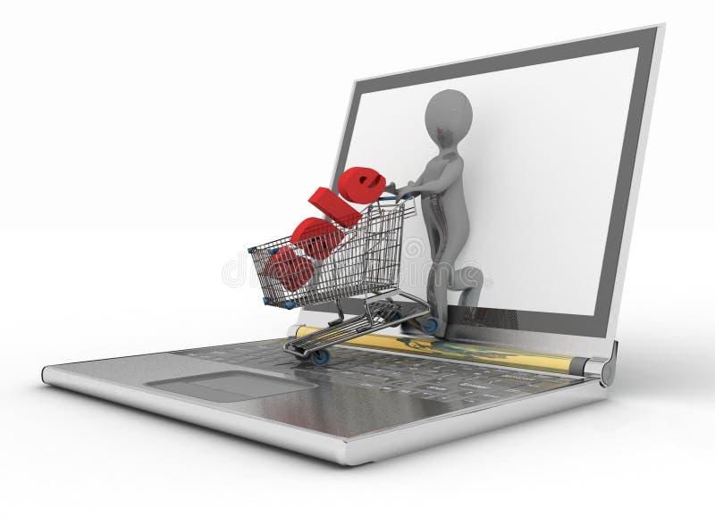 Het online winkelen van de mens en laptop stock illustratie