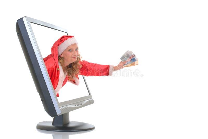 Het online winkelen van Kerstmis stock afbeeldingen
