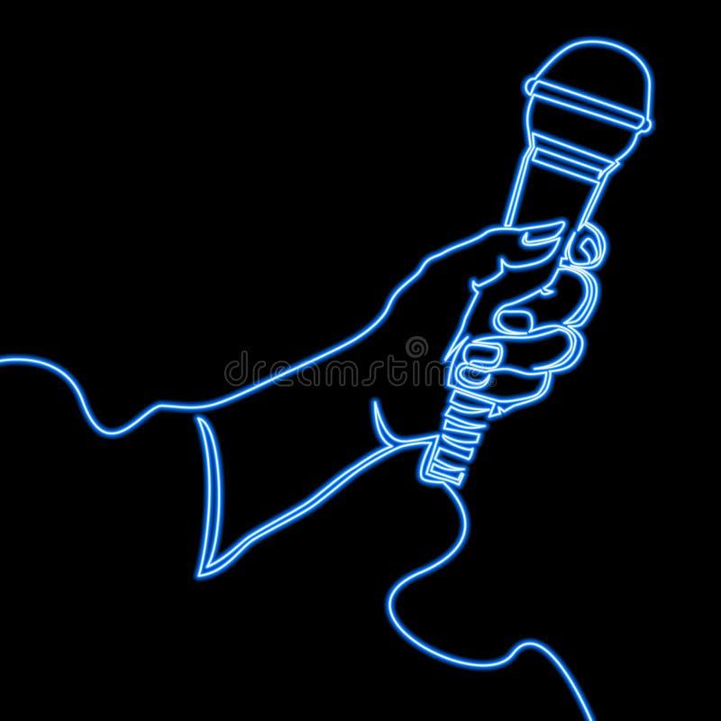Het ononderbroken concept van het de Karaokeneon van de lijnmicrofoon royalty-vrije illustratie