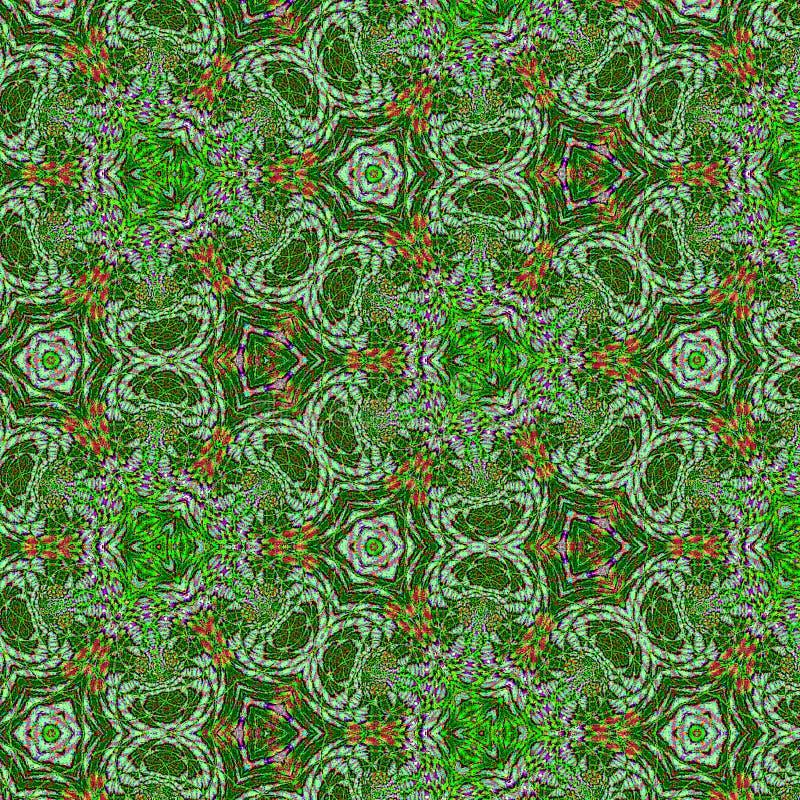 Het ononderbroken gebrandschilderd glaspatroon met verzwakte stadselementen bespuit driehoeken in groen vector illustratie