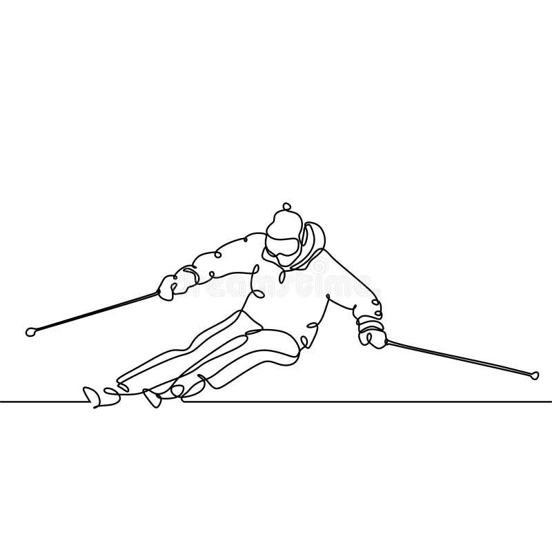 Het ononderbroken van de de skiraceauto van de lijntekening minimalistische ontwerp van persoon die sport op het thema van de sne vector illustratie