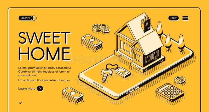 Het onroerende goederenhuis koopt online vector halftone lijn royalty-vrije illustratie