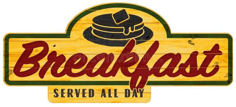 Het ontbijt diende de hele dag de Pannekoeken van de Tekenplaque stock illustratie