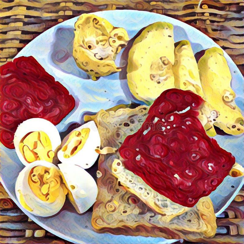 Het ontbijt op de lijst met ham en broodplakken, besnoeiing kookte ei en exotische fruitavocado vector illustratie