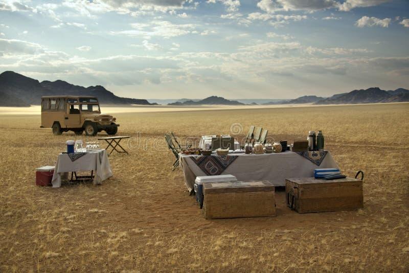 Het ontbijt van Champagne - Woestijn Namib - Namibië stock fotografie