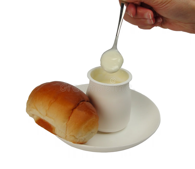 Het ontbijt van de yoghurt stock foto