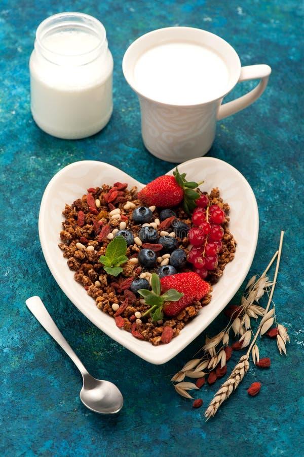 Het Ontbijt van Granolamuesli stock afbeeldingen