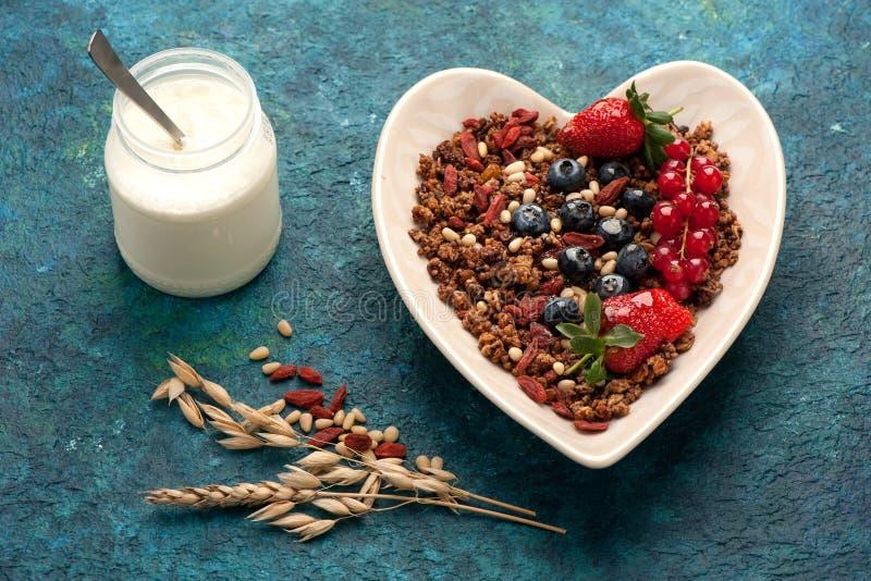 Het Ontbijt van Granolamuesli stock afbeelding