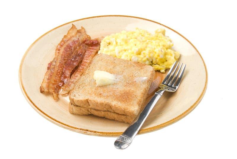 Het ontbijt van het bacon en van het ei stock fotografie