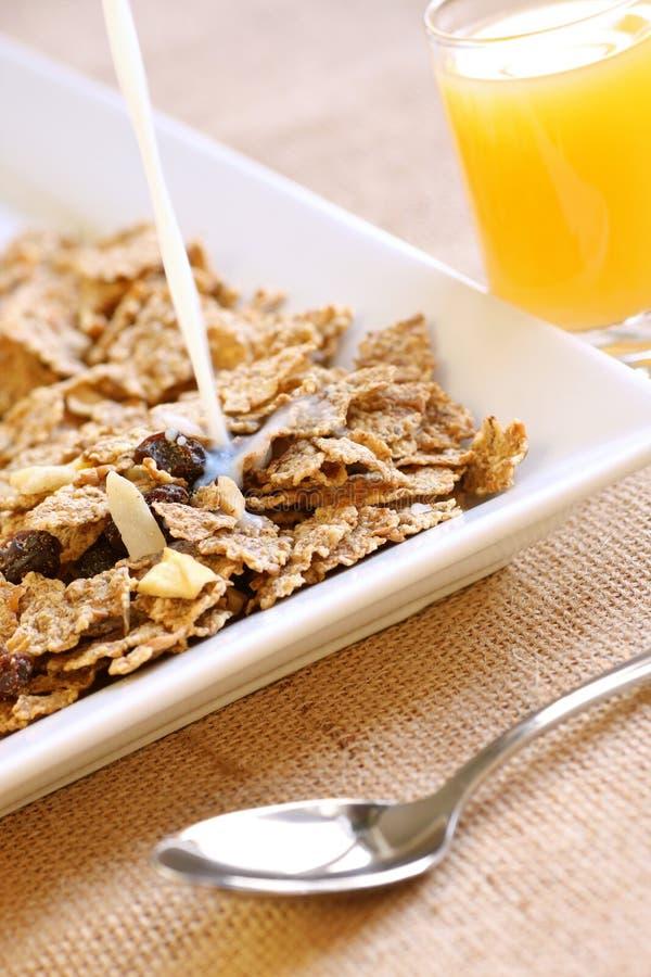 Het ontbijt van het fruit en van de vezel stock afbeeldingen