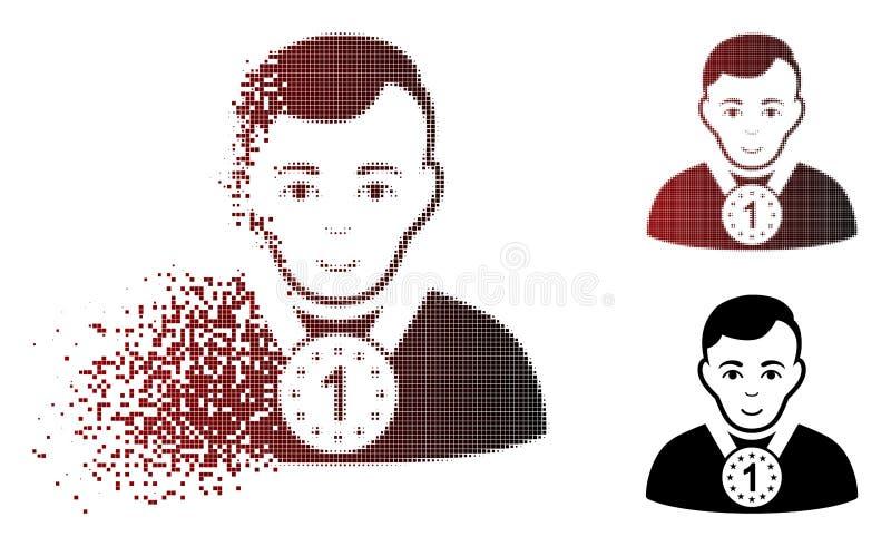 Het ontbonden Pictogram van de Pixel Halftone Kampioen royalty-vrije illustratie