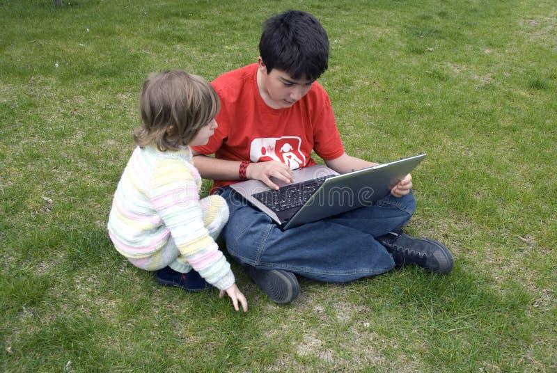 Het ontdekken van laptop stock fotografie