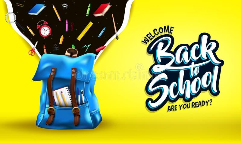 Het onthaal terug naar School is u Klaar Bericht in Gele Gradiënt Mesh Background Banner royalty-vrije illustratie