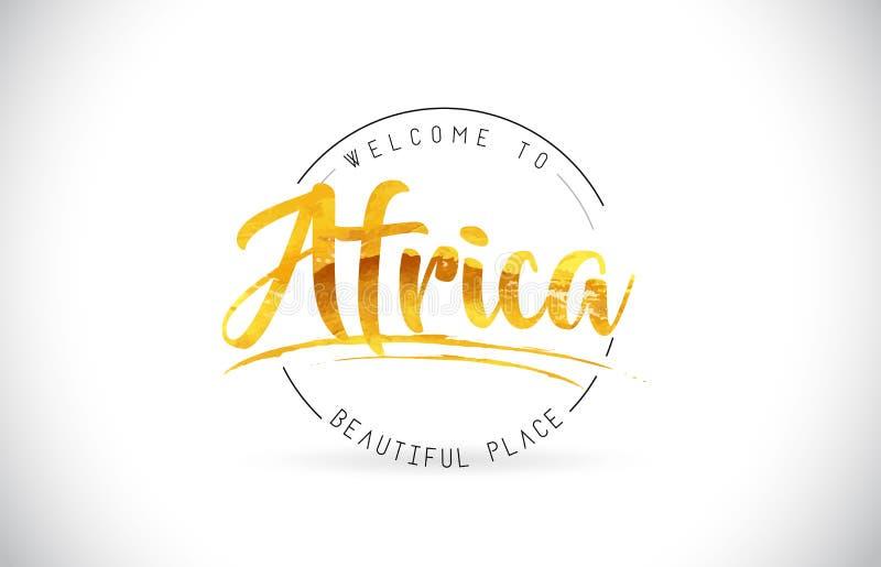 Het Onthaal van Afrika aan Word Tekst met Met de hand geschreven Doopvont en Gouden Tex stock illustratie