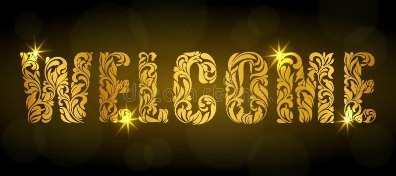 Het onthaal van Word Gouden die tekst van bloemenelementen met vonken op een donkere achtergrond wordt gemaakt vector illustratie