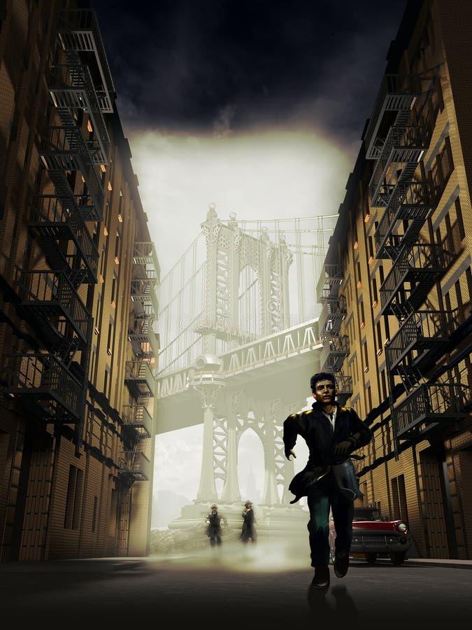 Het ontsnappen in Brooklyn stock illustratie