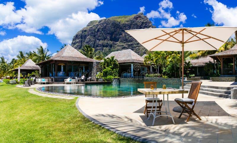 Het ontspannen bar in palmschaduw in tropisch paradijs Isla van Mauritius royalty-vrije stock fotografie