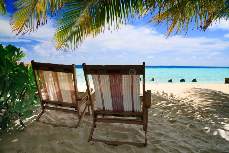 Het ontspannen op tropisch paradijs royalty-vrije stock foto's