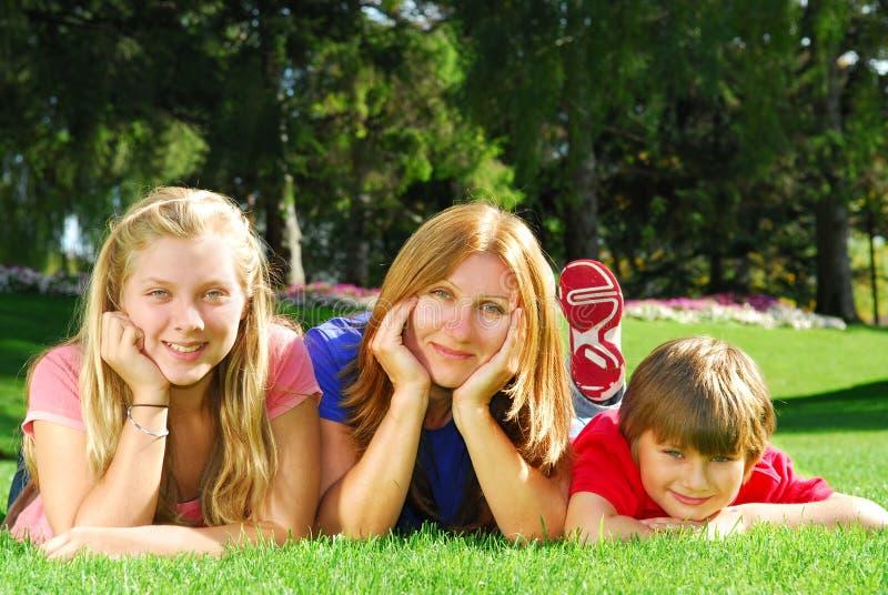Het ontspannen van de familie in een park stock foto