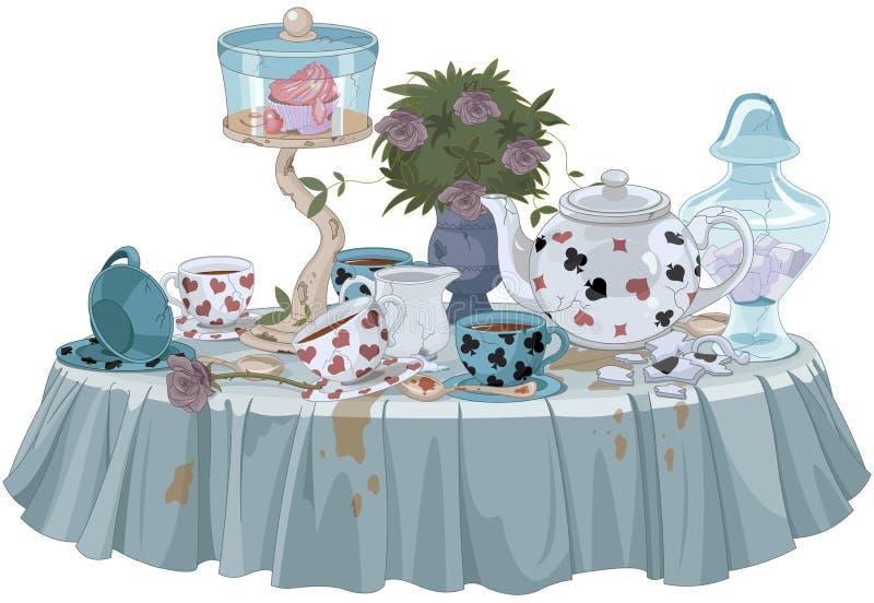 Het ontspannen van de vrouw drinkt thee stock illustratie