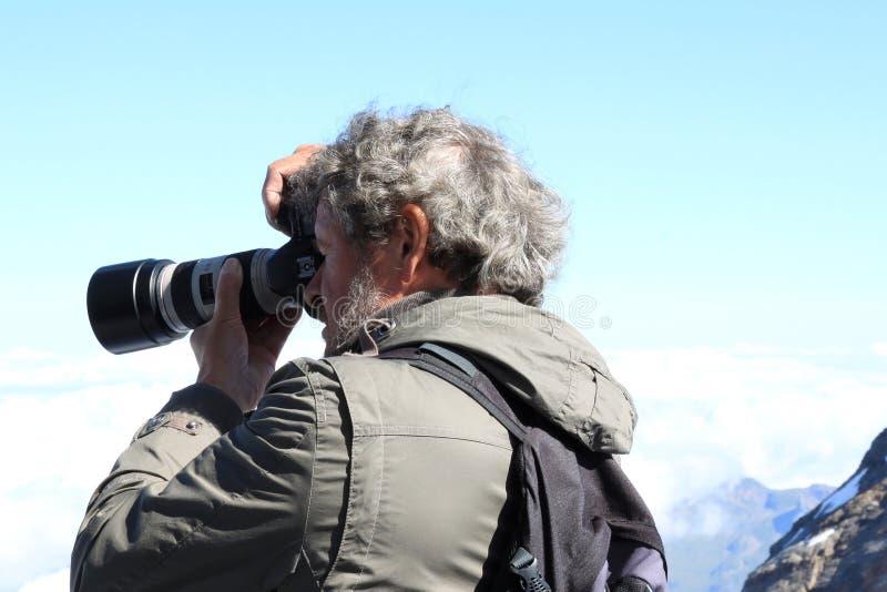 Het ontspruiten van de zonnige bergen in Jungfraujoch stock afbeeldingen