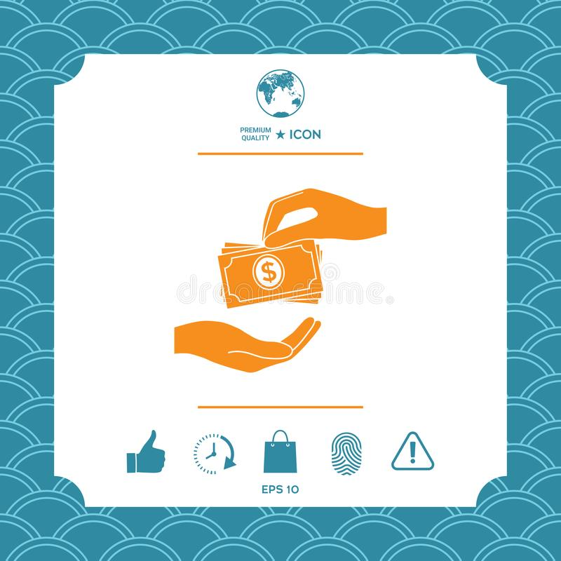 Het ontvangen van de stapelpictogram van geldbankbiljetten Het geldbankbiljetten van contant geldstapels vector illustratie