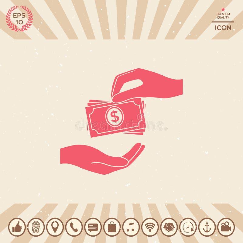 Het ontvangen van de stapelpictogram van geldbankbiljetten Het geldbankbiljetten van contant geldstapels royalty-vrije illustratie