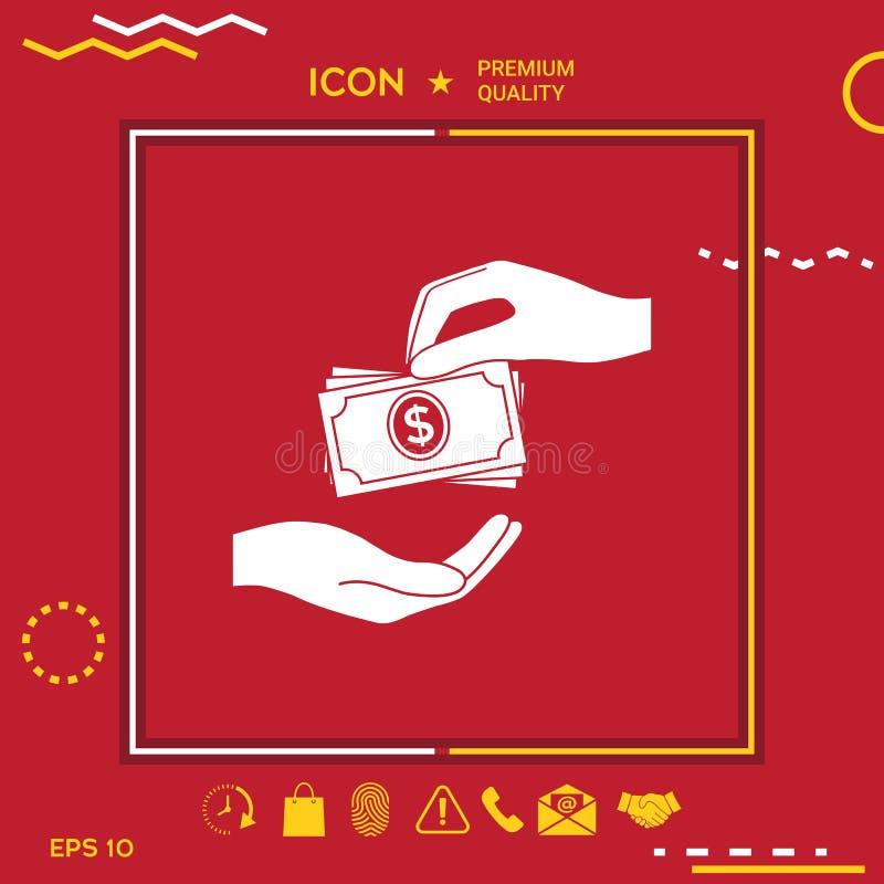 Het ontvangen van de stapelpictogram van geldbankbiljetten Het geldbankbiljetten van contant geldstapels stock illustratie