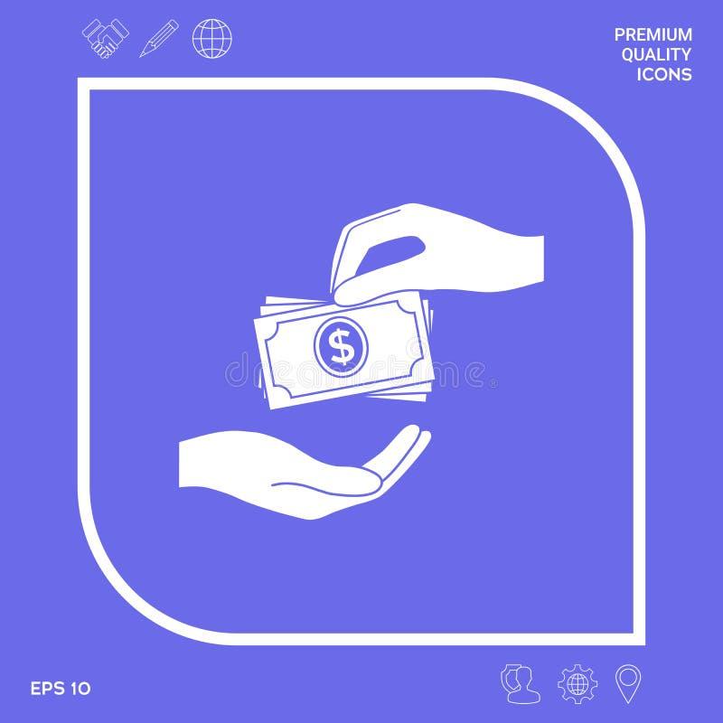 Het ontvangen van de stapelpictogram van geldbankbiljetten Het geldbankbiljetten van contant geldstapels Grafische elementen voor stock illustratie