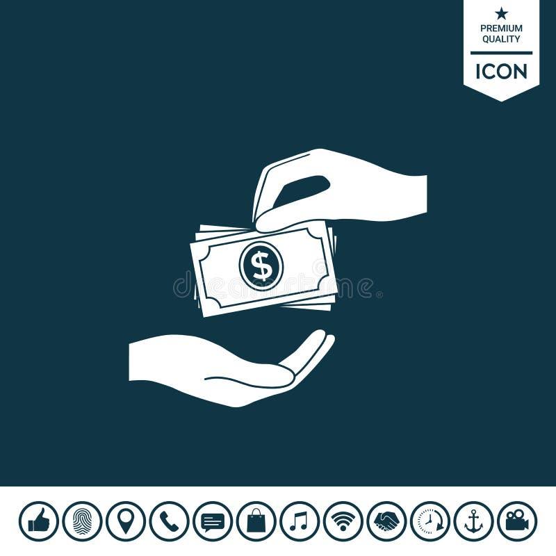 Het ontvangen van de stapelpictogram van geldbankbiljetten Het geld van contant geldstapels vector illustratie