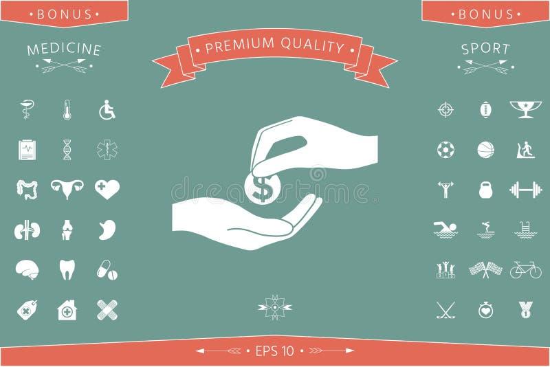 Het ontvangen van geldpictogram royalty-vrije illustratie