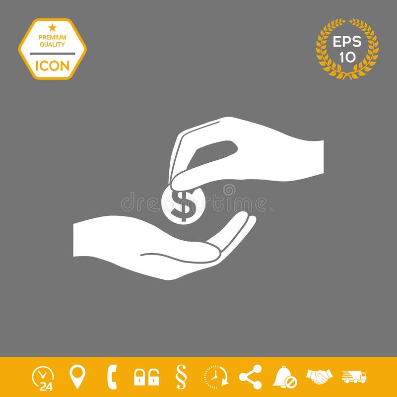Het ontvangen van geldpictogram Grafische elementen voor uw ontwerp royalty-vrije illustratie