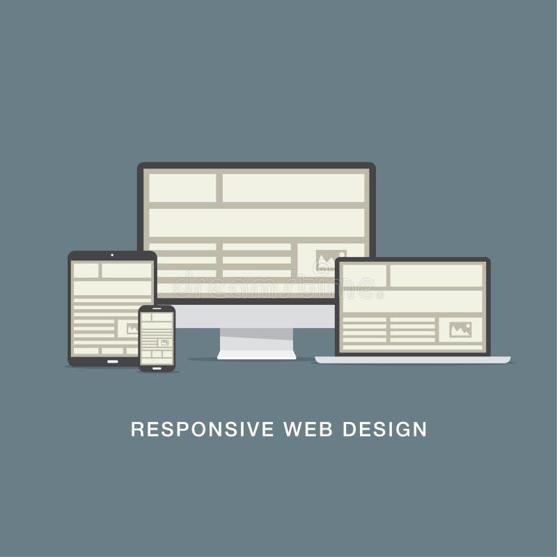 Het ontvankelijke net van het Webontwerp en vlakke pictogrammenvector stock illustratie